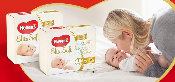 Скидка 50% на первые подгузники «Huggies Elite Soft»