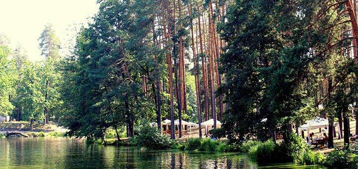 Аренда беседки с местом для рыбалки в зоне отдыха «Привал» в Пуще-Водице