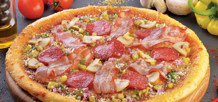 Скидка 50% на всю пиццу, бургеры и суши-сеты в ресторане «Атриум»